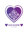 be my valentine qr code in purple heart on white vector image vector image