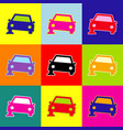 car parking sign pop-art style colorful vector image