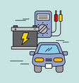 car service battery tester electric power energy vector image