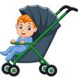 cartoon happy baboy in a stroller vector image vector image