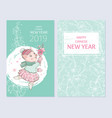 chinese new year 2019 poster set pig with sakura vector image vector image