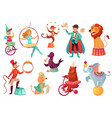 circus animals animal acrobatic tricks circus vector image