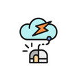 computer mouse with cloud server flat color line vector image