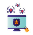 computer screen with spider isolated icon vector image vector image