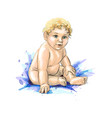 cute baby sitting from a splash watercolor vector image