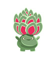 cute benevolent succulent emoji cartoon emotions vector image vector image