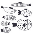 cute cartoon fish collection vector image vector image