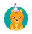 cute tiger party hat birthday vector image vector image