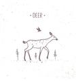 Deer doodle vector image vector image