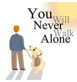 dog in leash is staring at owner as they are vector image vector image