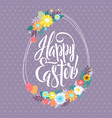easter greetings typographical egg shape greeting vector image