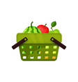 flat icon of plastic shopping basket with vector image vector image