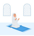 girl moslem sit and praying on pray mat vector image vector image