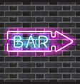 glowing neon bar sign with direction arrow vector image
