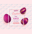 golden eggs with geometric pattern abstract pink vector image vector image