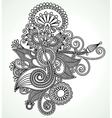 Hand draw line art ornate flower design Ukrainian vector image vector image