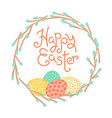 happy easter inscription wreath willow vector image vector image