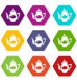 kettle porcelain icons set 9 vector image vector image