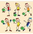 Little toy men playing football vector image vector image