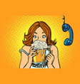 lunch break woman drinking beer vector image vector image