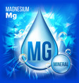 mg magnesium mineral blue drop icon vector image vector image