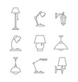 monochrome set with line lamp icons vector image