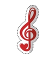 music note with heart vector image vector image