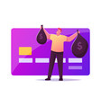 noncontact payment man buyer character hold sacks vector image vector image