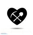 pickaxe shovel and icon heart black isolated on vector image vector image