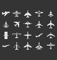 plane icon set grey vector image