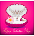 postcard on Valentines day with a necklace vector image vector image