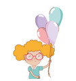 pretty girl with balloons and casual wear vector image vector image