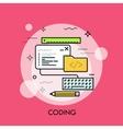 program code window keyboard pencil ruler vector image