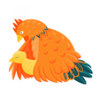 Red chicken with a yellow chick vector image vector image
