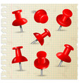 red pins thumbtack push paper notes on board memo vector image