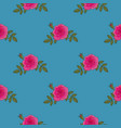 red rose hand drawn seamless pattern on blue vector image vector image