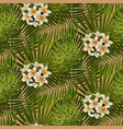 retro tropical flowers and leaves seamless pattern vector image vector image