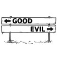 road block arrow sign drawing of good or evil vector image