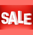 sale 3d letters on red background vector image vector image