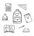 School sketch icons with education supplies vector image vector image