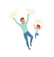 smiling dad and son happily jumping loving father vector image vector image