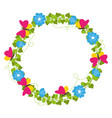 Spring wreath with flowers and butterflies