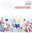 square flat banner our adventure every summer vector image vector image