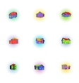 Structure icons set pop-art style vector image vector image