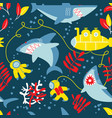 underwater adventure seamless pattern with sharks vector image