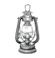 vintage lantern hand drawing engraving style vector image vector image