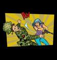 woman vs man civil beats invader military soldier vector image vector image