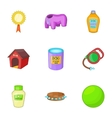 Keeping pets icons set cartoon style vector image