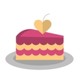 delicious pink cake with love heart vector image