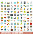 100 internet school icons set flat style vector image